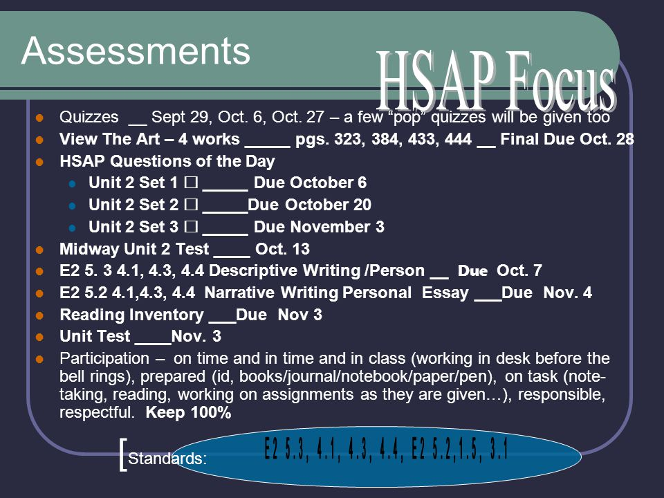 Assessments [Standards: HSAP Focus